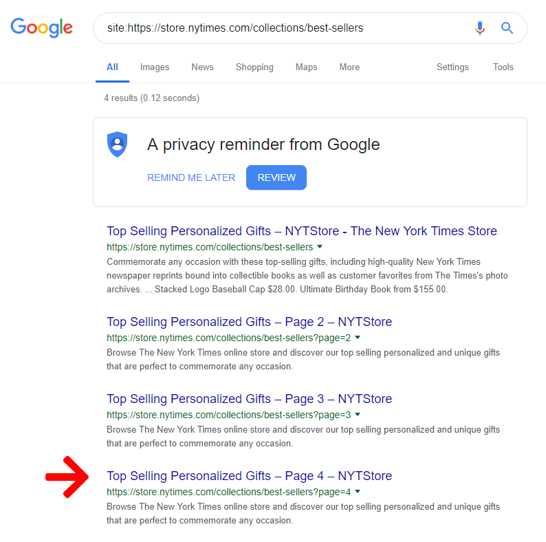 Google Results for 'https://store.nytimes.com/collections/best-sellers'.